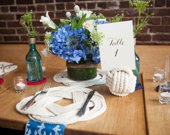 10-15 Nautical Table Number Holders - White Knots - Cream Knots - Mix them up - Cotton Knots - Nautical Wedding Decor - 4.5 inch - Wedding