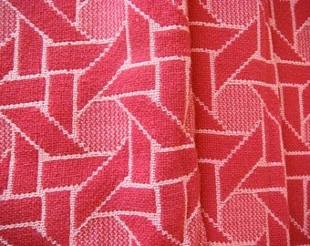Beautiful Bates Red Geometric Vintage Cotton Chenille Fabric 19 x 22 Inches