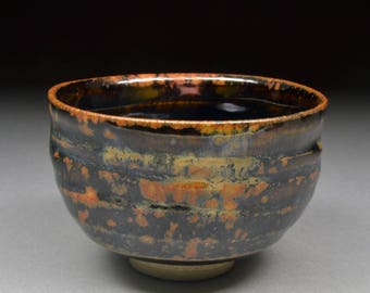 Rich Handmade Tenmoku and Copper and Rutile Glazed Small Yunomi Tea Cup or Larger Guinomi Sake Cup