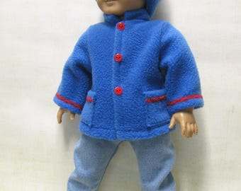"""Blue Fleece Coat and Hat for 18"""" Boy Doll"""