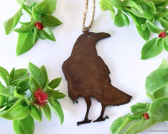 Raven Metal Ornament / Rusty Metal / Rustic / Owls/ Gift for Bird Watcher / Crow /by WATTO Distinctive Metal Wear /