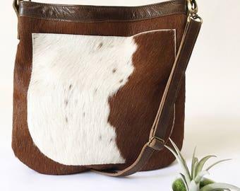 UKSANA - Leather Bag - Hair on Hide - Leather Hobo Bag - Cow Hair Leather Crossbody Bag - Boho Chic - Boho Bag - Womens Purse- READY to SHIP