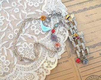 necklace bluebird enamel flower assemblage upcycled jewelry bird czech beads ladybug birdhouse cottage chic