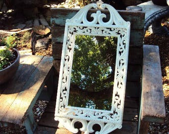 Shabby Chic Vintage Mirror and Frame Hollywood Regency Distressed Chippy Antique off White French Country Baroque Ornate Nursery wedding
