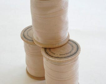 25% Off Summer Sale Rayon Binding Tape - 1/2 Inch Wide - 10 Yds Cameo Beige on Wooden Spool - Packaging and Gift Ribbon
