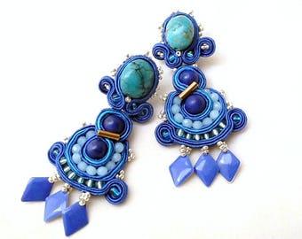 turquoise chandelier statement earrings | blue gemstones long earrings | long chandelier lapis lazuli earrings | boho chic summer jewelry