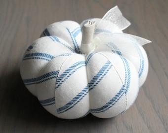 Blue Ticking Striped Pumpkin Cute Blue and White Cotton Pumpkin Pincushion