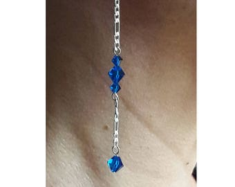 Long and Lovely Cornflower Blue Crystals and Sterling Silver Chain Dangle Earrings