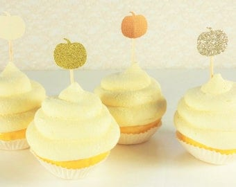 SALE 50 Pumpkin Cupcake Topper, Party Decorations, Thanksgiving Wedding Toothpicks, Dessert Food, Plant Pick