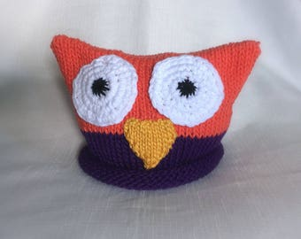 READY TO SHIP Knit Owl hat, great photo prop