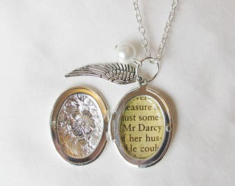 Customised Literature Locket Necklace. Bridesmaid Bridal Silver Wing Charm. Customized Pride and Prejudice Jane Eyre. To Kill a Mockingbird