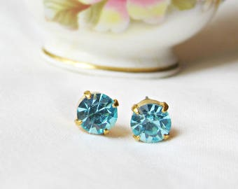 Aquamarine Earrings Ear Studs Vintage Glass Blue Aqua Round Glam It Up. Jewellery dspdavey Jewelry Cute Small Miniature Sparkly Bridesmaid