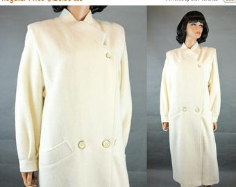 ON SALE White Trench Coat Sz L Vintage Long Off White Ivory Wool Blend Winter Jacket Free Us Shipping