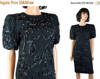 ON SALE 80s Cocktail Dress M Vintage Black Satin Ribbon Soutache Rhinestone Crinkle Gown Free Us Shipping