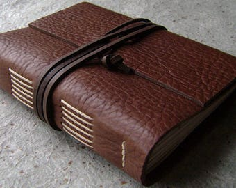 "Handmade rustic leather journal, 4"" x 6"", travel journal, leather sketchbook (2629)"
