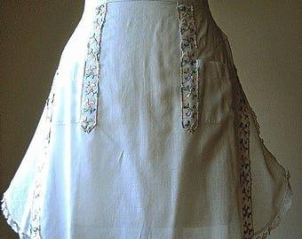 APRON Kitchen Skirt Bottom Cover PINAFORE Vintage WHITE Sheer Delicate Ribbon Trim