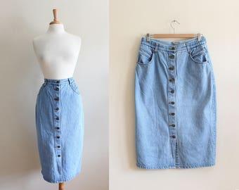 Vintage 1990s Pale Denim Button Front Midi Skirt