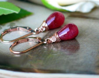 Ruby Teardrop Earrings | Wine Red Ruby Smooth Drop | 14k Rose Gold Fill Leverback Dangles | Small Earrings | July Birthstone | Ready to Ship