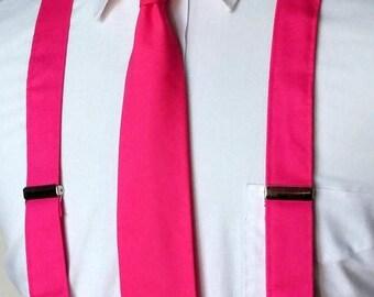 SALE Bright Pink Necktie and Suspenders - Skinny or Standard Width Tie - Men, Teen, Youth     2 weeks before shipping