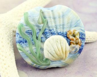 SRA Handmade Lampwork Glass Bead, Organic Focal Blue, Ocean, Beach, Pink Scallop