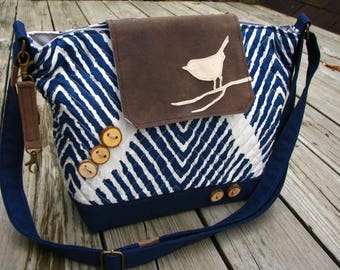 Eco-friendly Tote, Ultra Suede and Quilted Cotton Vegan Bag, Quilted Navy Purse, Messenger, Travel Tote