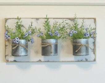 Chic Farmhouse Wall Decor.. 3 Zinc Corrugated Metal Pots on Distressed Reclaimed Wood..Office/Bathroom Wall Organizer Hanging Metal Pots