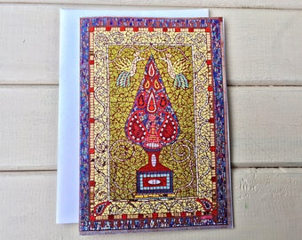 Tree of Life Art Card ~ Persian Rug Greetings Card ~ Spiritual Card ~ all Occasion card ~ Mosaic Note Card ~ Unique Card ~ Birthday Card