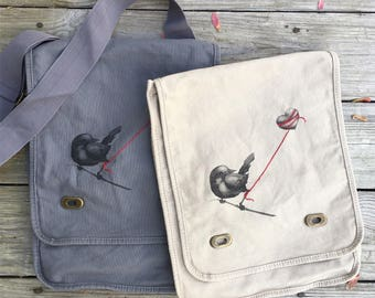 Heart Balloon Bird canvas satchel bag