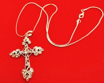"Vintage silver  tone 16""  necklace with 2"" rhinestone cross pendant  in great condition, appears unworn"