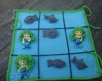775 Sharks VS Mermaids a tic tac toe game to crochet pattern