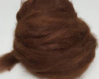 Suri Alpaca Roving. Natural Brown, Silky Soft Roving, Brown Alpaca Roving