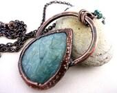 Amazonite Teardrop Necklace, Chatoyant Gemstone,  Electroformed Copper,  Unique Handmade Pendant and Chain