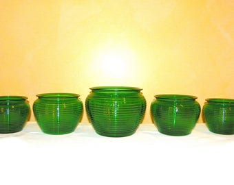Forest Green Glass Ribbed Planters, Set of 5, 1-Large, 2-Medium and 2-Small, by National Glass Co.