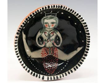 Girl Doing The Splits - Painting by Jenny Mendes in a  Ceramic Pinch Bowl Finger Bowl