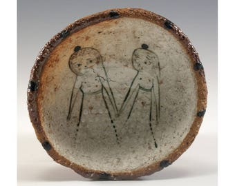 Hand Pinched Wood Fired Bowl by Jenny Mendes - Two Girls Holding Hands