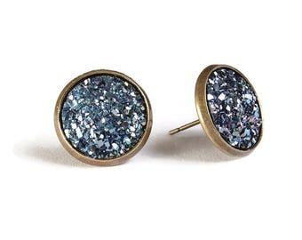 Blue textured stud earrings - Faux Druzy earrings - Textured earrings - Post earrings - Nickel free - lead free - cadmium free (830)