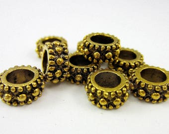 24 Beads antique gold large hole spacer beads jewelry making supplies 5mm x 9mm HP610(Y5),