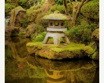 SUMMER SALE-Ends July 5- Japanese Garden photo  Autumn Photography Koi Pond Photograph Zen Buddism Shrine Fall Colors Green nat70