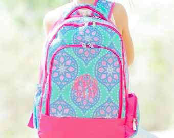 2 Piece Set - Monogrammed Mint, Lavender and Hot Pink Marlee Backpack; Back to School; Great for Girls