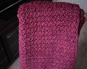 Burgundy/Claret Afghan Throw Blanket