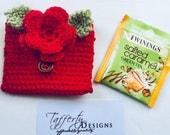 Bonneterie thé voyage sac / sac à main de thé Tea Bag porte / thé porte monnaie - en pur coton - rouge