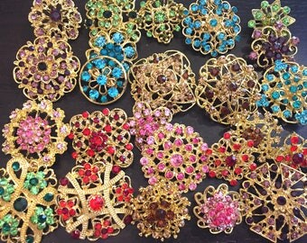 24 pcs vintage style wholesale lot crystal rhinestone mixed color brooch bridal wedding bouquet decoration DIY kit gold BR676