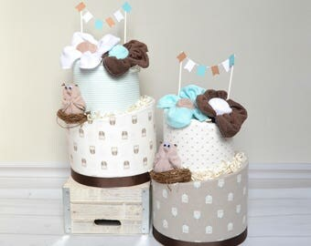 Owl Shower Decor, Gender Neutral Baby Gift, Owl Diaper Cake, Woodland Baby  Shower