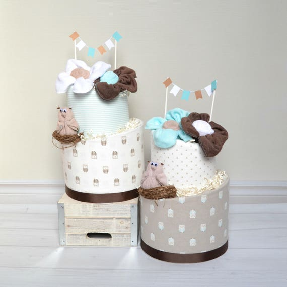 2-Tier Owl Topsy Turvy - Aqua and Tan