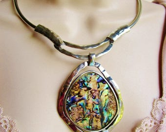 Vintage Abalone Beach Medallion Primitive Metal Choker Collar Pendant Silver BoHo Tribal Ethnic Tropical Island Resort Bride Statement