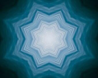 Healing water Print, home Meditation art Energy, element ocean abstract, Mandala style, blue water elemental spiritual yoga studio decor zen