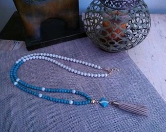 Howlite Tassel Necklace