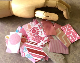 Micro Mini Envelopes (50) ... Pink Super Teeny Tiny Tooth Fairy Handmade Cute Fun Stationery Little Bitty Notes Scrapbooking Crafts Girly