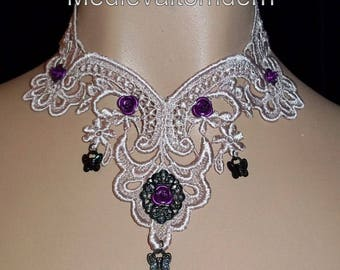 Choker Tan Purple Mauve Rose VENISE Soft Victorian Lave Scattared Cameo and Butterfly Wearable Art Runway Romanice Necklace Wedding Day
