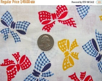 Sale:) Vintage Novelty Feed sack Flour Sack  Cotton Fabric //  Red, Yellow and Blue BOWS on White // 39  x  48